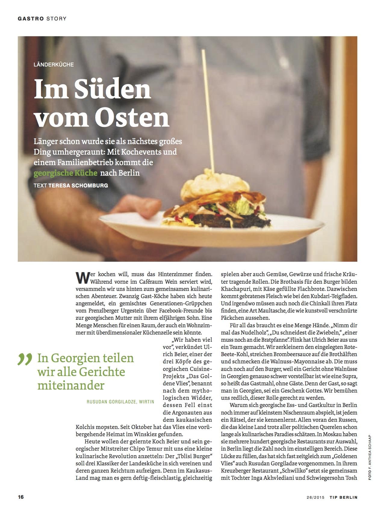 kochen erleben | references - Georgische Küche Berlin